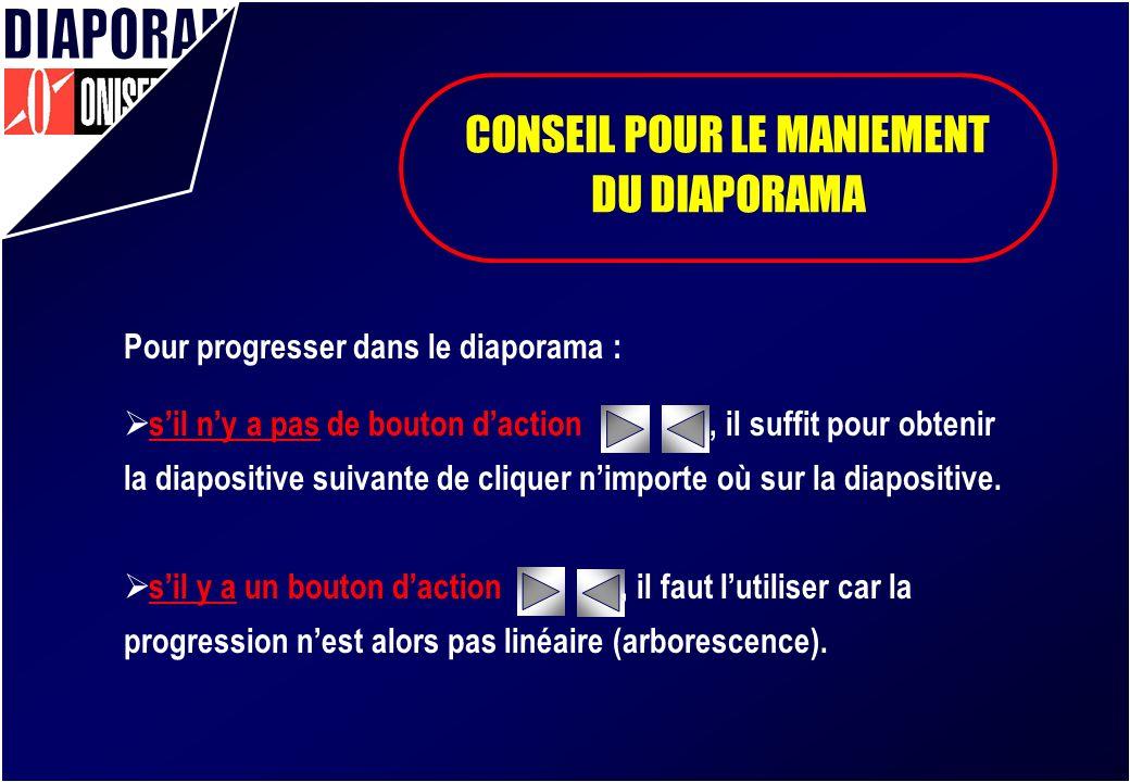 CONSEIL POUR LE MANIEMENT DU DIAPORAMA Pour progresser dans le diaporama : sil ny a pas de bouton daction, il suffit pour obtenir la diapositive suivante de cliquer nimporte où sur la diapositive.