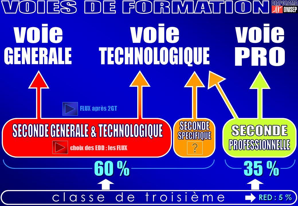 c l a s s e d e t r o i s i è m e 60 % 35 % FLUX après 2GT choix des EDD : les FLUX RED : 5 %