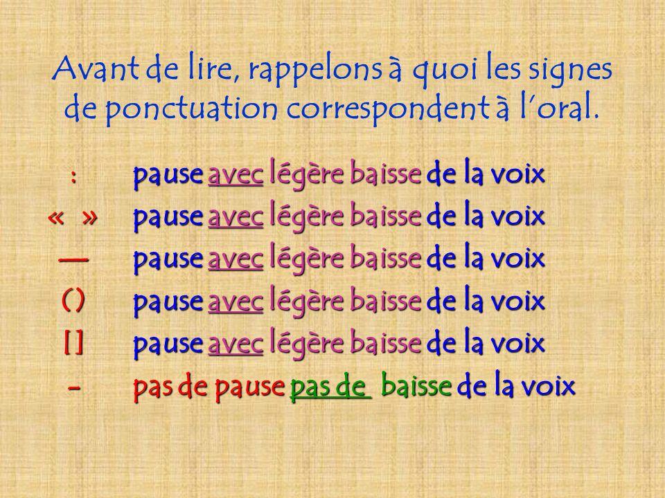 Avant de lire, rappelons à quoi les signes de ponctuation correspondent à loral.,légère pause sans baisse de la voix ;pause avec légère baisse de la v
