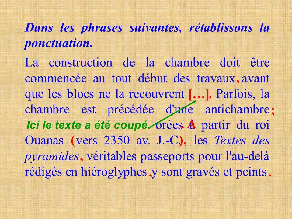 Dans les phrases suivantes, remplaçons les _ par des virgules, des points et des majuscules. Le père de Pani était chasseur _ il chassait des animaux