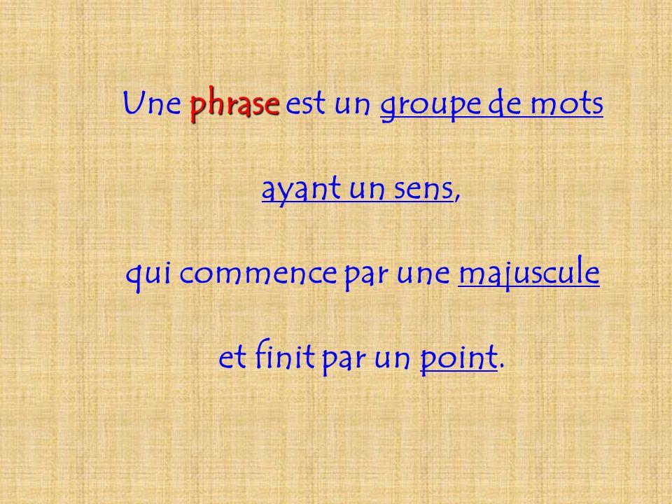 Une phrase phrase est un groupe de mots ayant un sens, qui commence par une majuscule et finit par un point.