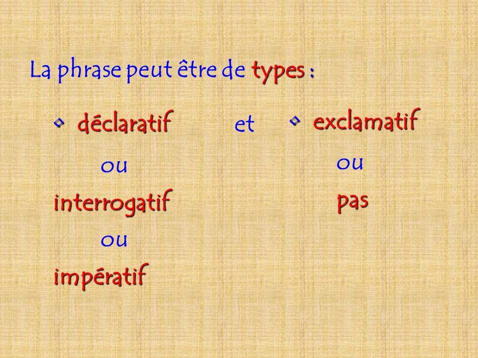 La phrase peut être de t tt types : d déclaratif ou interrogatif ou impératif e exclamatif ou pas et