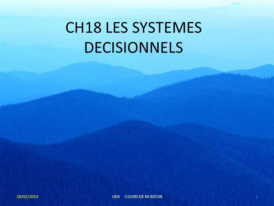 CH18 LES SYSTEMES DECISIONNELS 28/02/20141UE8 COURS DE M.BIZON