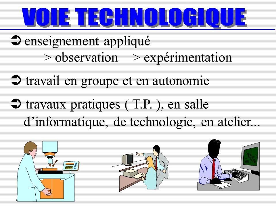 enseignement appliqué > observation > expérimentation travail en groupe et en autonomie travaux pratiques ( T.P. ), en salle dinformatique, de technol