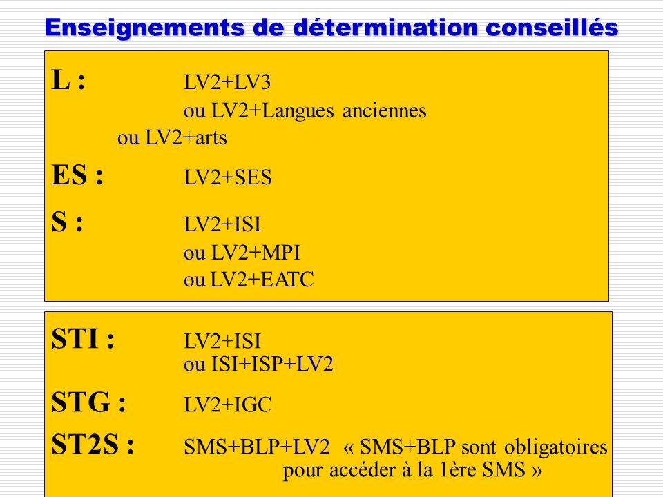 Enseignements de détermination conseillés L : LV2+LV3 ou LV2+Langues anciennes ou LV2+arts ES : LV2+SES S : LV2+ISI ou LV2+MPI ou LV2+EATC STI : LV2+I