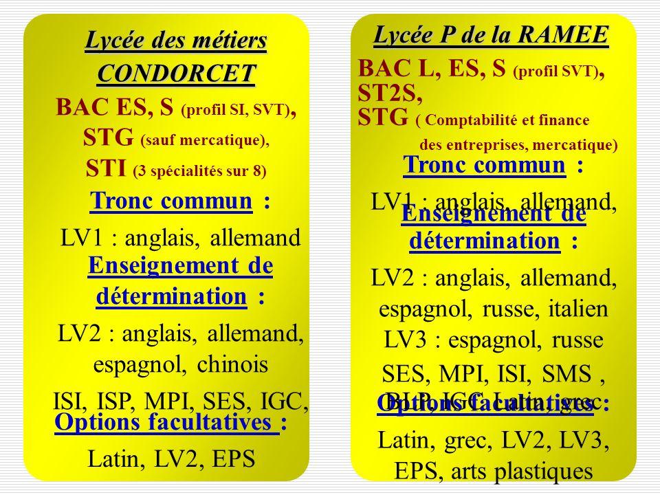 Enseignement de détermination : LV2 : anglais, allemand, espagnol, chinois ISI, ISP, MPI, SES, IGC, Tronc commun : LV1 : anglais, allemand Lycée des m