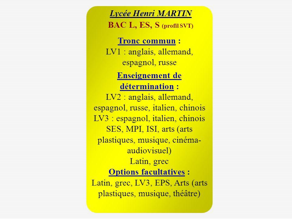 Lycée Henri MARTIN BAC L, ES, S (profil SVT) Options facultatives : Latin, grec, LV3, EPS, Arts (arts plastiques, musique, théâtre) Enseignement de dé
