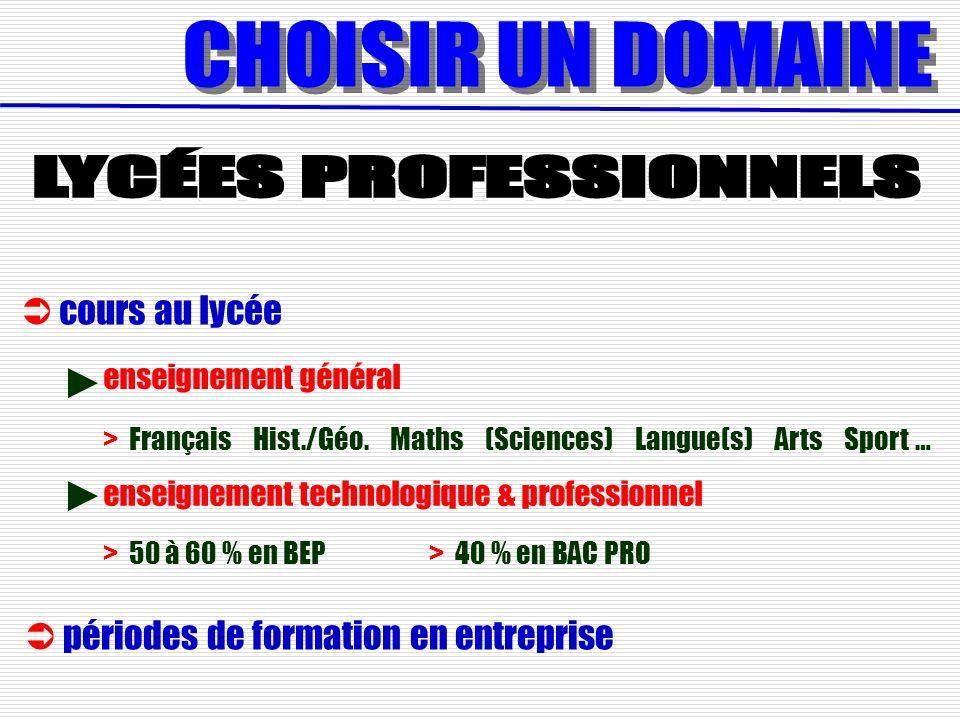 cours au lycée > 50 à 60 % en BEP > 40 % en BAC PRO > Français Hist./Géo. Maths (Sciences) Langue(s) Arts Sport … enseignement général enseignement te