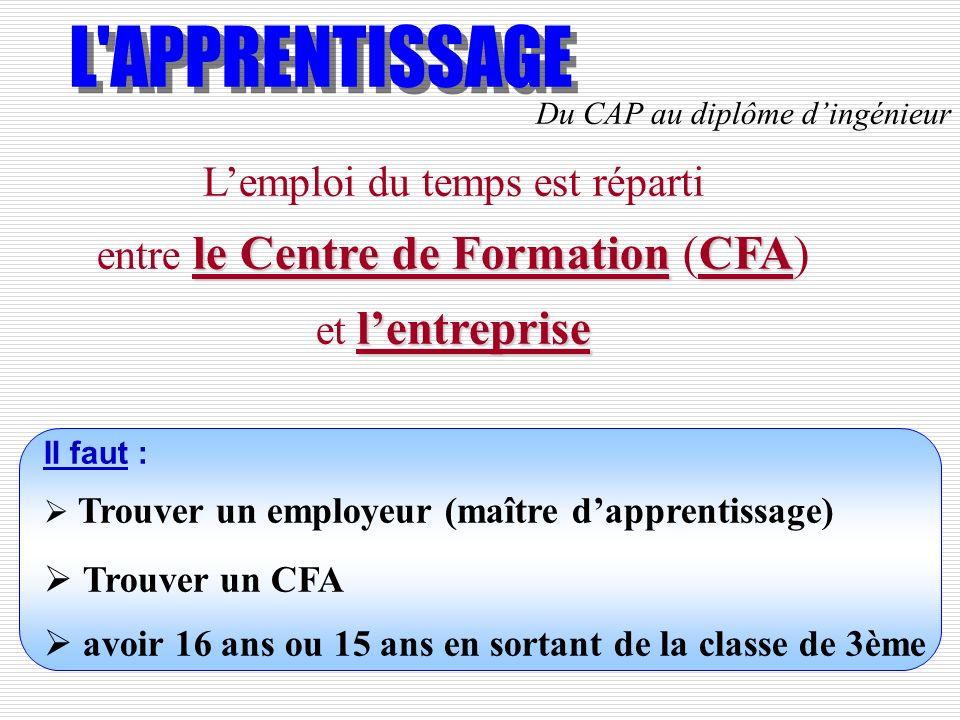 le Centre de FormationCFA lentreprise Lemploi du temps est réparti entre le Centre de Formation (CFA) et lentreprise Il faut : Trouver un employeur (m