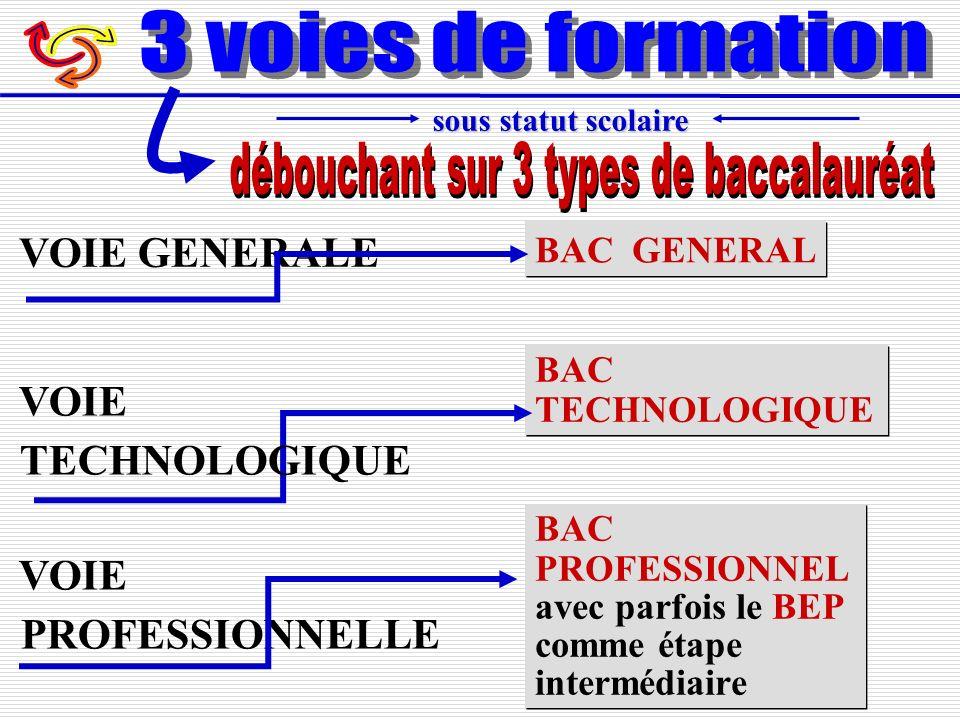 BAC GENERAL VOIE GENERALE BAC PROFESSIONNEL avec parfois le BEP comme étape intermédiaire BAC PROFESSIONNEL avec parfois le BEP comme étape intermédia