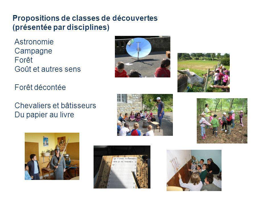 Propositions de classes de découvertes (présentée par disciplines) Astronomie Campagne Forêt Goût et autres sens Forêt décontée Chevaliers et bâtisseu