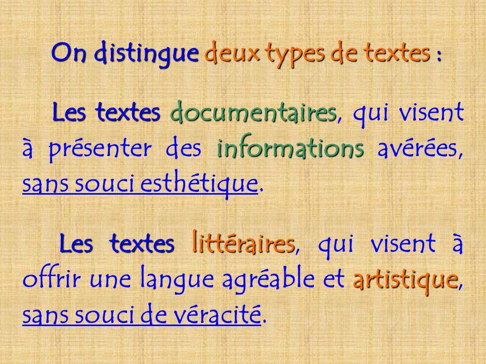 On distingue deux types de textes textes : Les textes documentaires documentaires, qui visent à présenter des informations informations avérées, sans