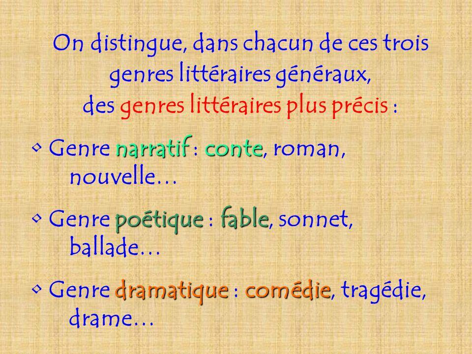 On distingue, dans chacun de ces trois genres littéraires généraux, des genres littéraires plus précis : Genre narratif narratif : conte conte, roman,