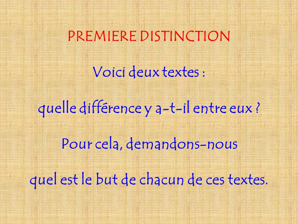 PREMIERE DISTINCTION Voici deux textes : quelle différence y a-t-il entre eux ? Pour cela, demandons-nous quel est le but de chacun de ces textes.