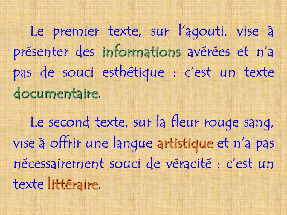Le premier texte, sur lagouti, vise à présenter des informations informations avérées et na pas de souci esthétique : cest un texte documentaire docum