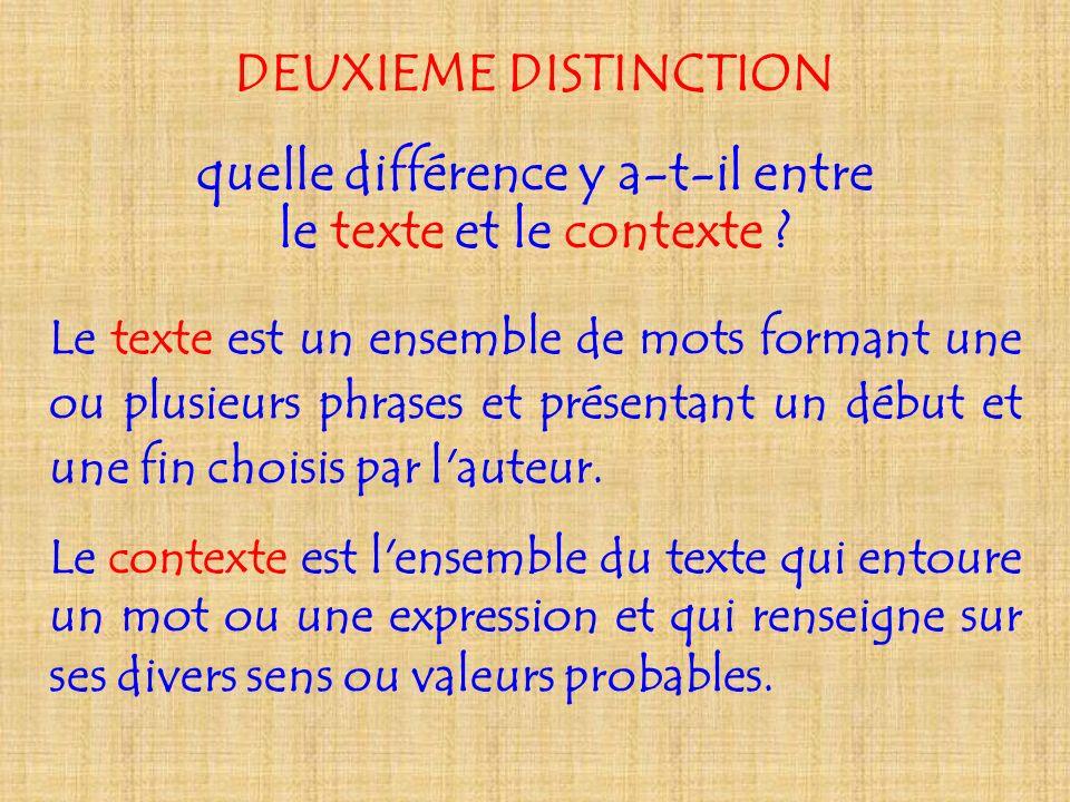 DEUXIEME DISTINCTION quelle différence y a-t-il entre le texte et le contexte ? Le texte est un ensemble de mots formant une ou plusieurs phrases et p