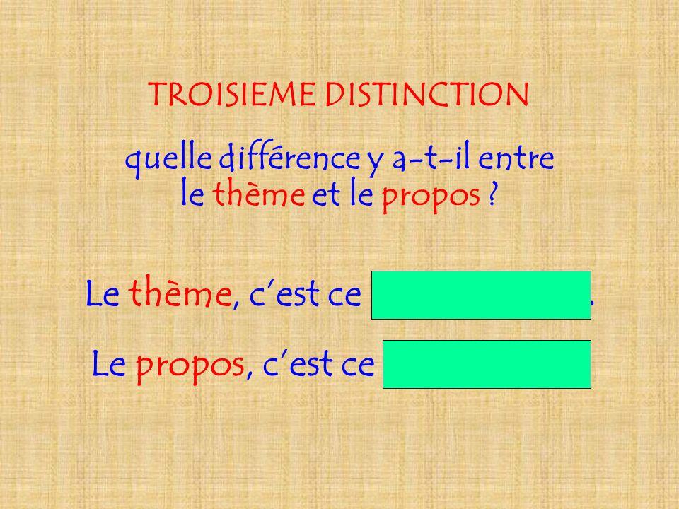 TROISIEME DISTINCTION quelle différence y a-t-il entre le thème et le propos ? Le thème, cest ce dont on parle. Le propos, cest ce quon en dit.