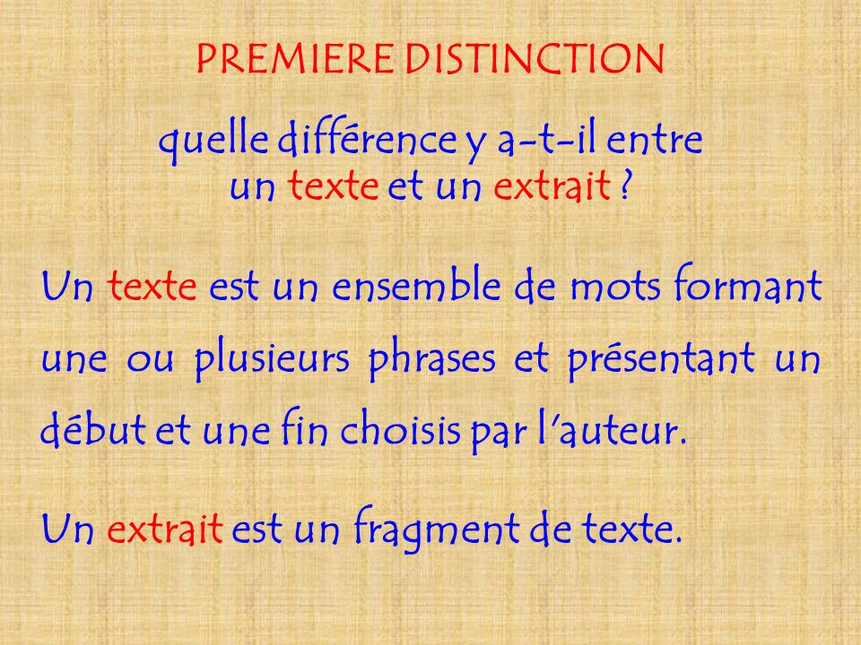 PREMIERE DISTINCTION quelle différence y a-t-il entre un texte et un extrait ? Un texte est un ensemble de mots formant une ou plusieurs phrases et pr