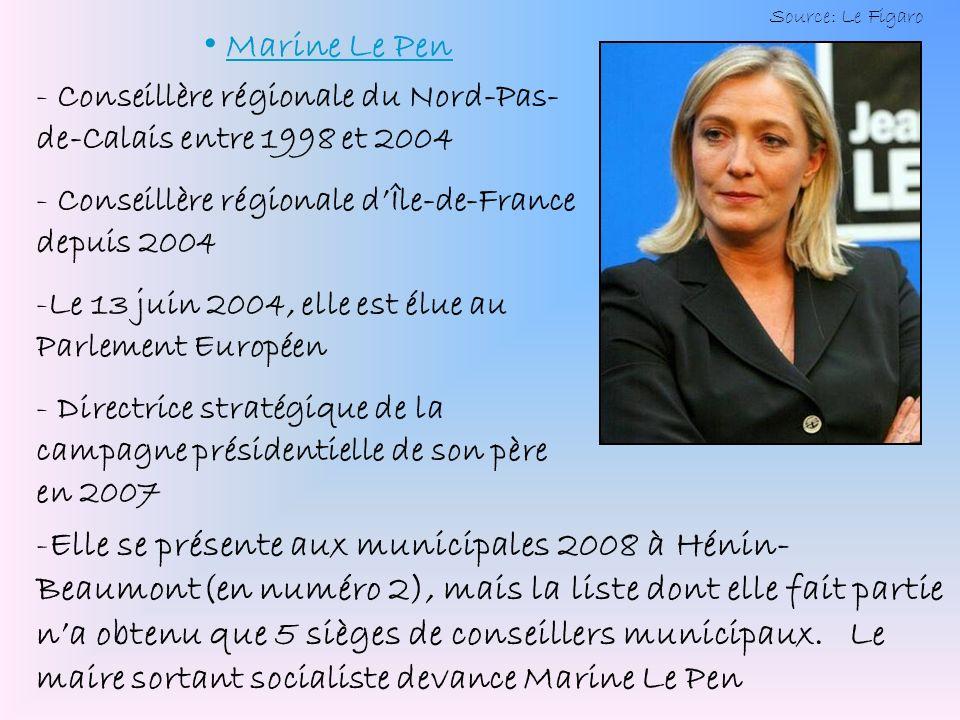 Marine Le Pen - Conseillère régionale du Nord-Pas- de-Calais entre 1998 et 2004 onseillère régionale dÎle-de-France depuis 2004 -L-Le 13 juin 2004, el