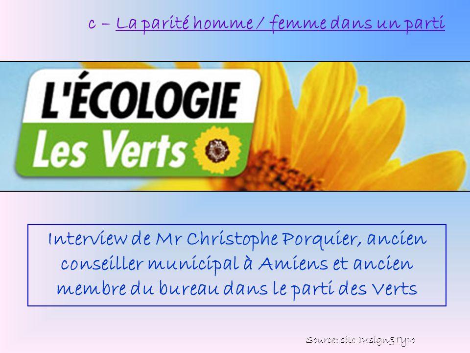 c – La parité homme / femme dans un parti Interview de Mr Christophe Porquier, ancien conseiller municipal à Amiens et ancien membre du bureau dans le