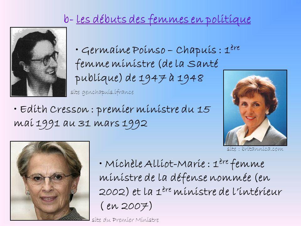 b- les débuts des femmes en politique Germaine Poinso – Chapuis : 1 ère femme ministre (de la Santé publique) de 1947 à 1948 Michèle Alliot-Marie : 1