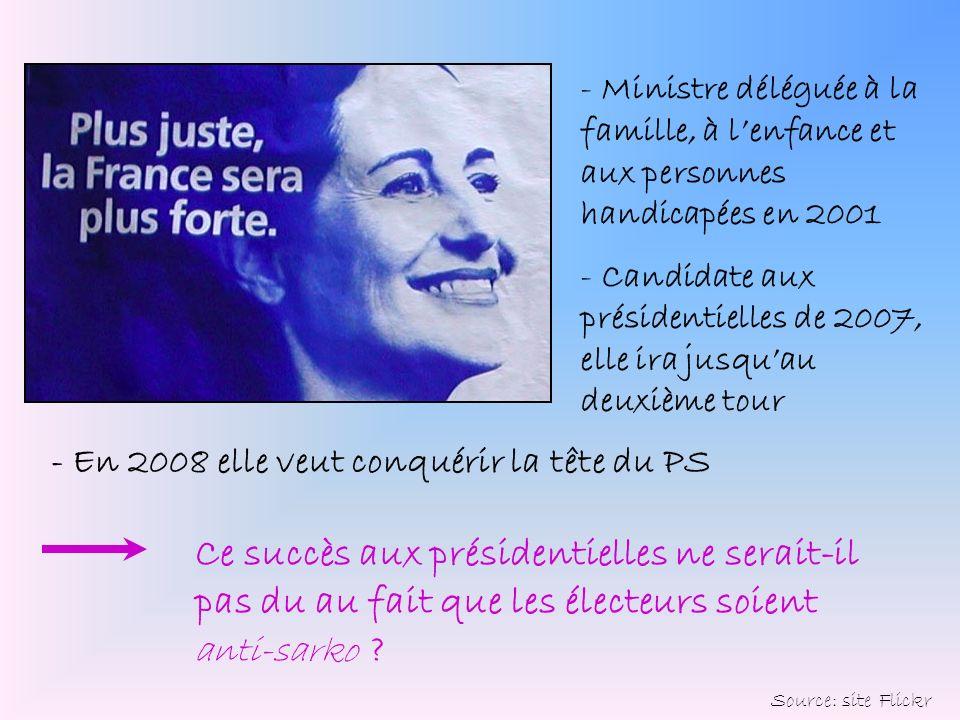 - Ministre déléguée à la famille, à lenfance et aux personnes handicapées en 2001 - Candidate aux présidentielles de 2007, elle ira jusquau deuxième t