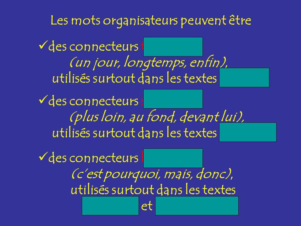 Les mots organisateurs peuvent être des connecteurs temporels (un jour, longtemps, enfin), utilisés surtout dans les textes narratifs des connecteurs