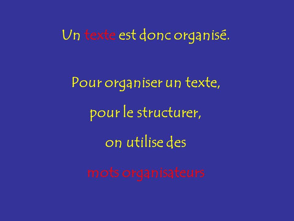 Pour organiser un texte, pour le structurer, on utilise des mots organisateurs Un texte est donc organisé.