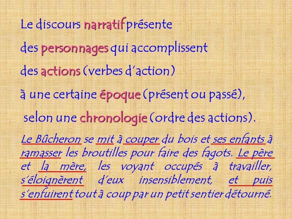 narratif Le discours narratif présente personnages des personnages qui accomplissent actions des actions (verbes daction) époque à une certaine époque