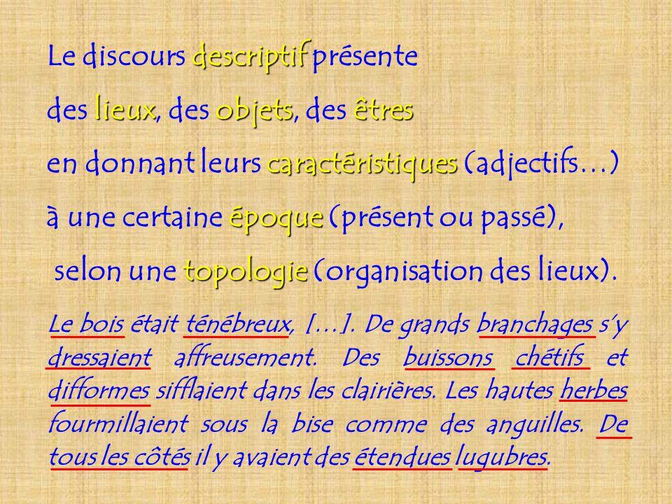descriptif Le discours descriptif présente lieuxobjetsêtres des lieux, des objets, des êtres caractéristiques en donnant leurs caractéristiques (adjec