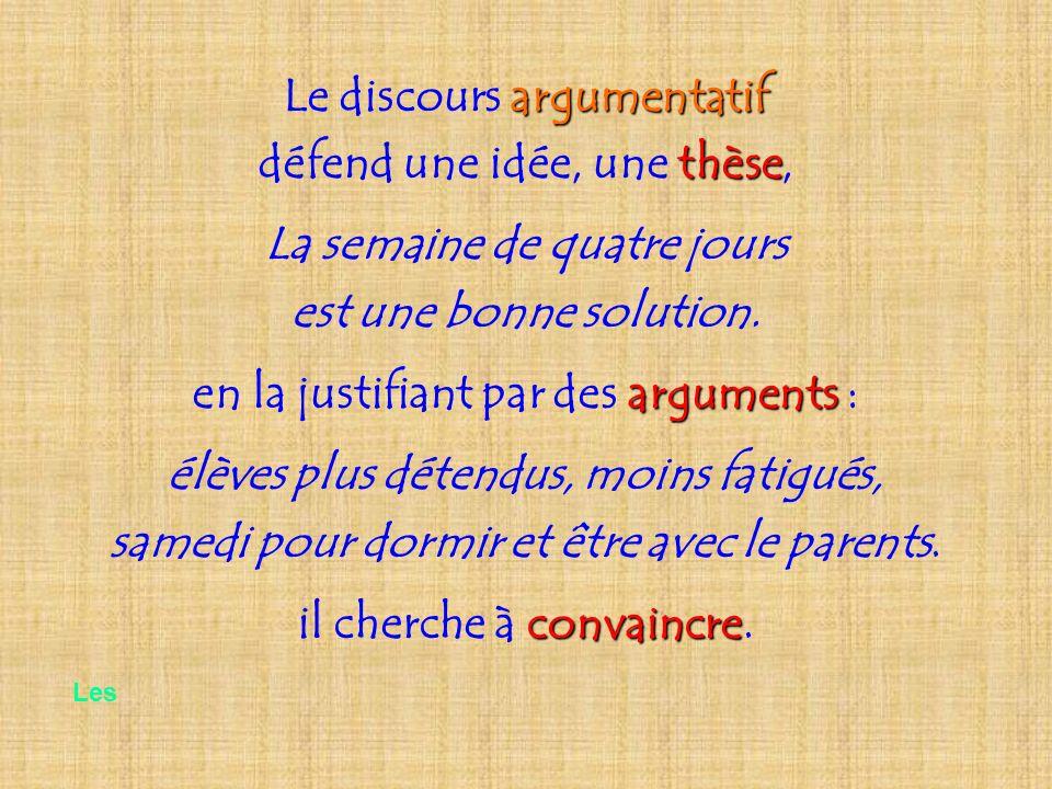 argumentatif Le discours argumentatif thèse défend une idée, une thèse, La semaine de quatre jours est une bonne solution. arguments en la justifiant