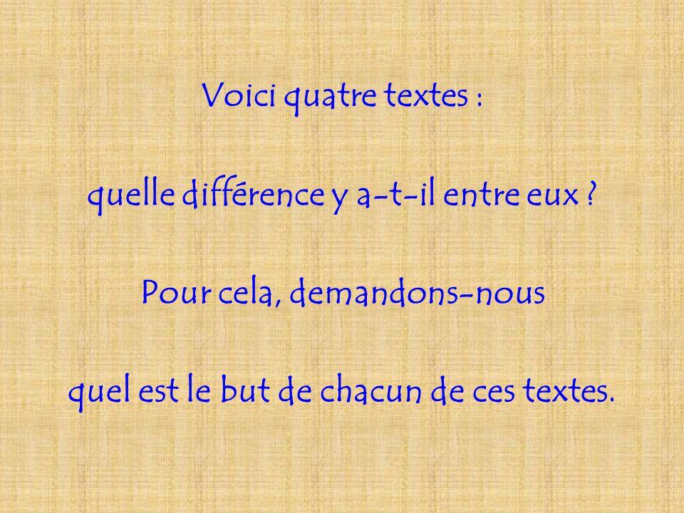 Voici quatre textes : quelle différence y a-t-il entre eux ? Pour cela, demandons-nous quel est le but de chacun de ces textes.