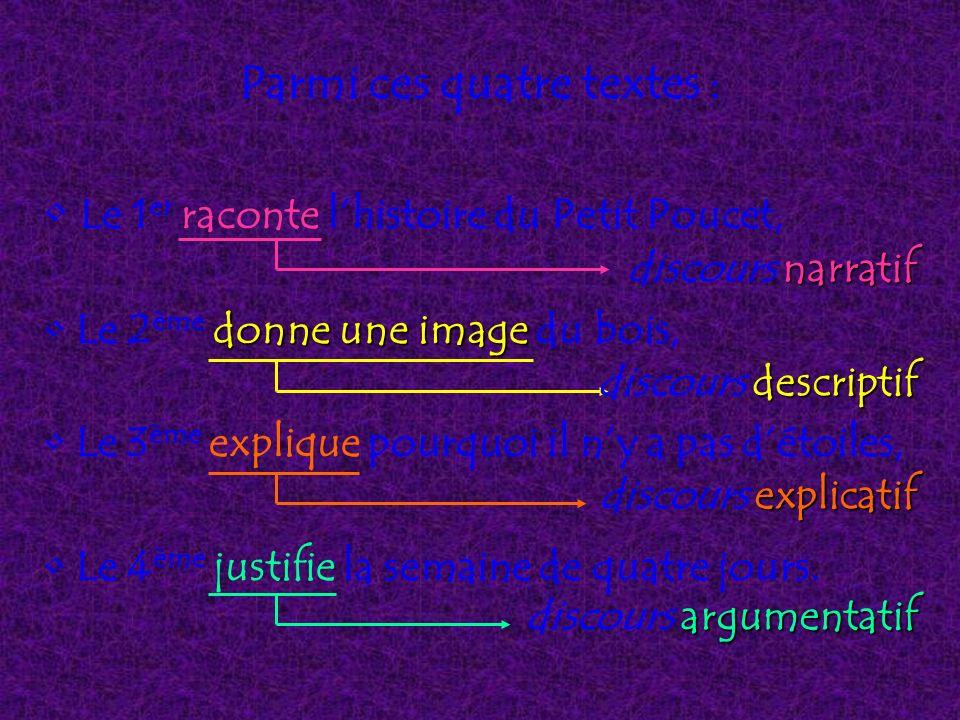 Parmi ces quatre textes : Le 1 er raconte lhistoire du Petit Poucet, donne une image Le 2 ème donne une image du bois, Le 3 ème explique pourquoi il n