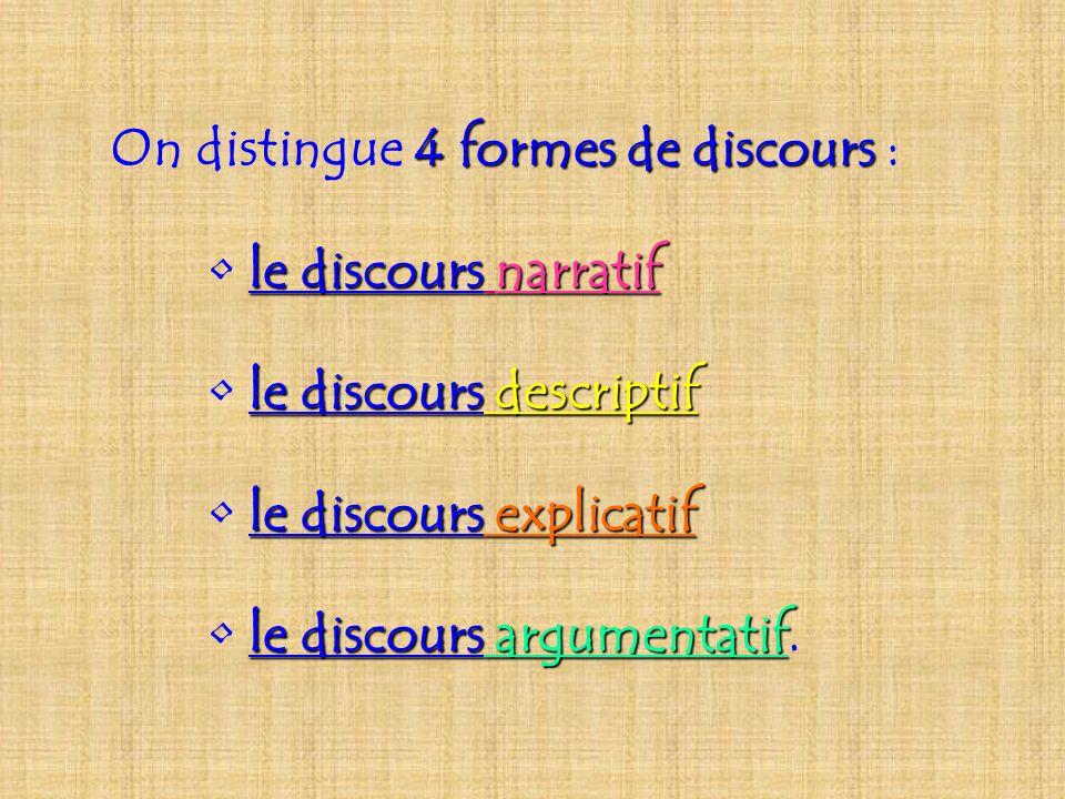 On distingue 4 formes de discours discours : le discours discours narratif le discours discours descriptif le discours discours explicatif le discours