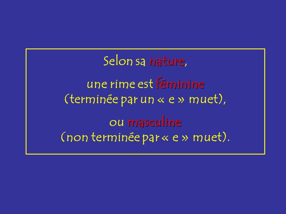 schéma Selon le schéma, les rimes sont plates plates (aabb), croisées croisées (abab), embrassées ou embrassées (abba).