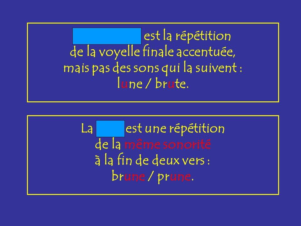 dissyllabique La rime dissyllabique répète les 2 dernières syllabes du vers : fructueuse / défectueuse.