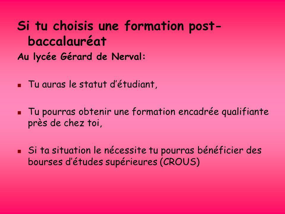 Le lycée Gérard de Nerval te propose des formations qualifiantes courtes en 2 ans. Plusieurs BTS : ASSISTANT DE MANAGER (AM) MANAGEMENT DES UNITES COM