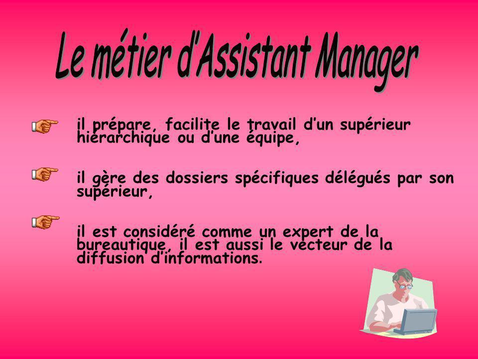 Le BTS Assistant de Manager remplace les BTS Assistant de Direction et Trilingue. Lassistant manager doit connaître deux langues étrangères pour répon