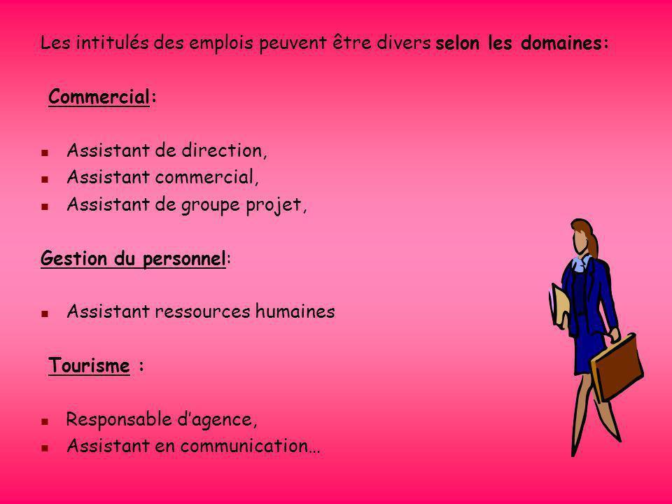 Les secteurs dactivités Les emplois dassistant de manager touchent tous types dorganisations (les entreprises, les associations, le tourisme, les admi