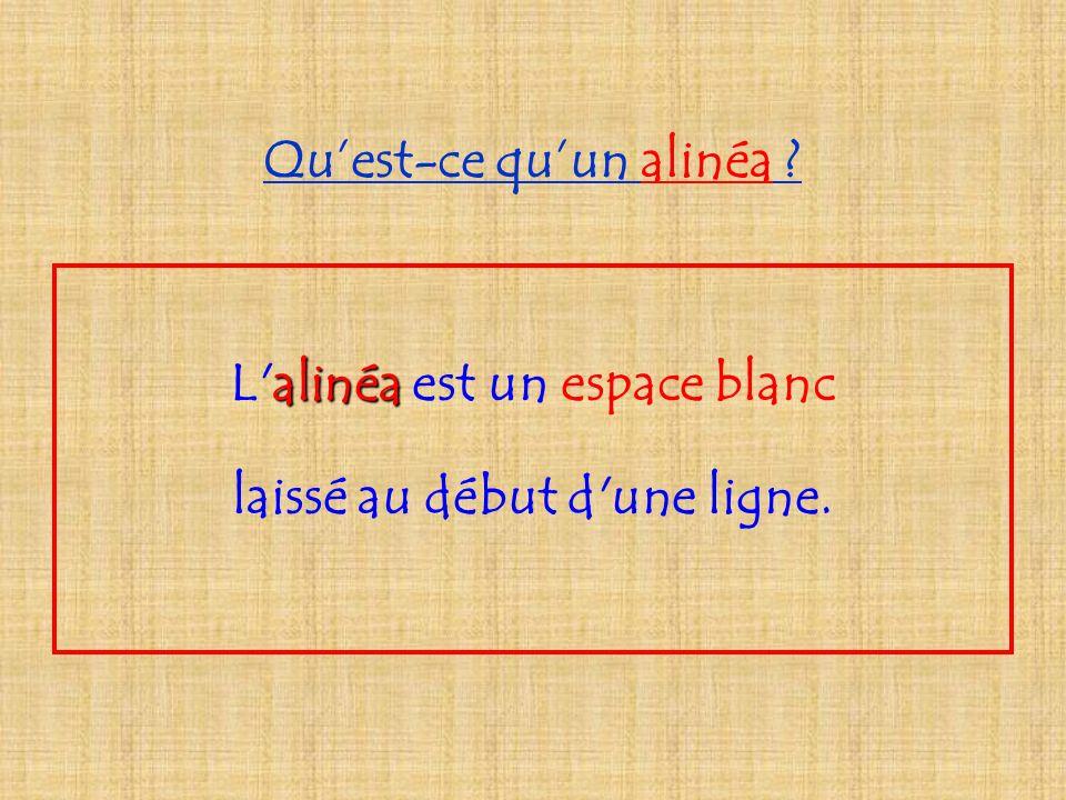 Quest-ce quun alinéa ? alinéa L alinéa est un espace blanc laissé au début d une ligne.
