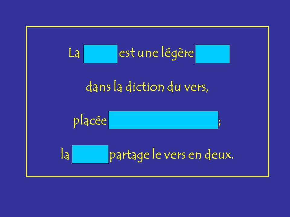 La coupe est une légère pause dans la diction du vers, placée après chaque accent ; la césure partage le vers en deux.