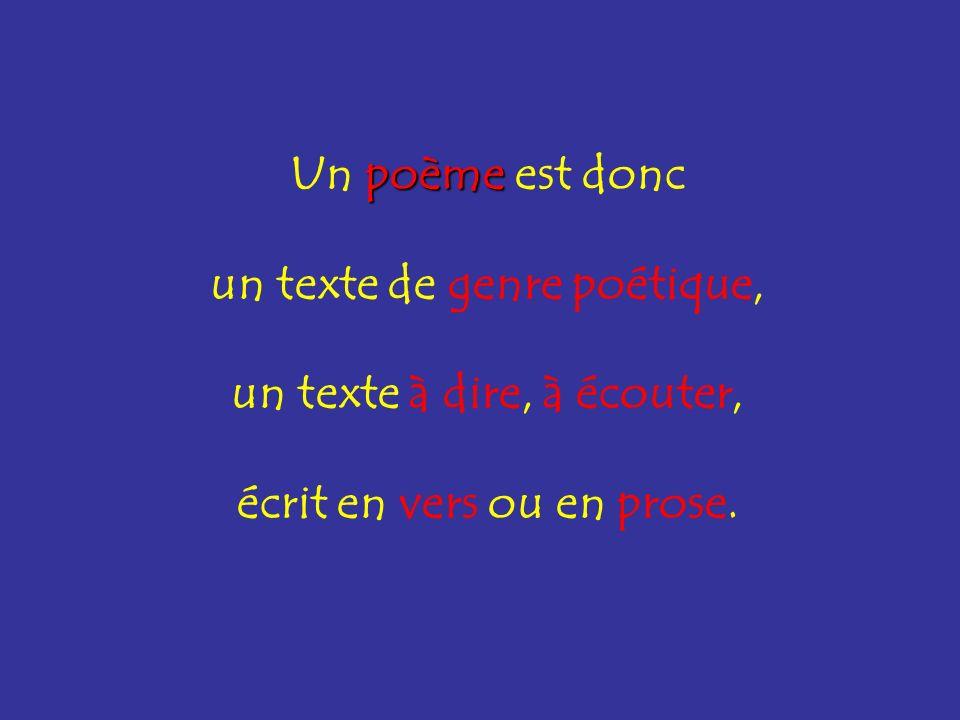 Un poème poème est donc un texte de genre poétique, un texte à dire, à écouter, écrit en vers ou en prose.