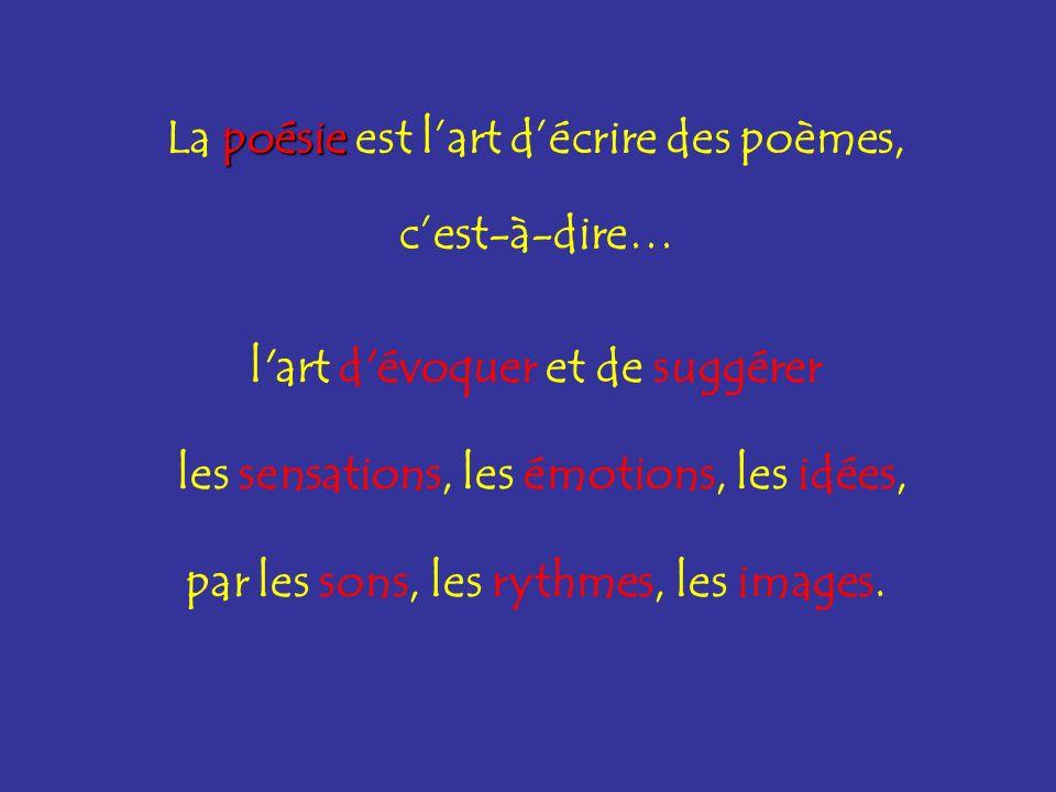 poésie La poésie est lart décrire des poèmes, cest-à-dire… l'art d'évoquer et de suggérer les sensations, les émotions, les idées, par les sons, les r