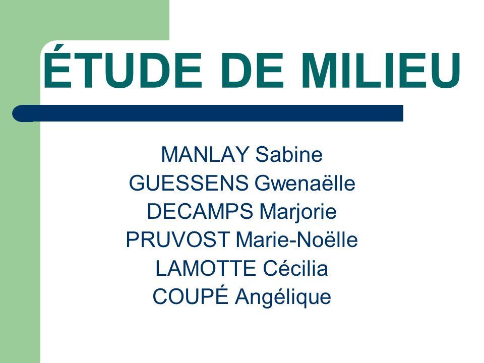 ÉTUDE DE MILIEU MANLAY Sabine GUESSENS Gwenaëlle DECAMPS Marjorie PRUVOST Marie-Noëlle LAMOTTE Cécilia COUPÉ Angélique