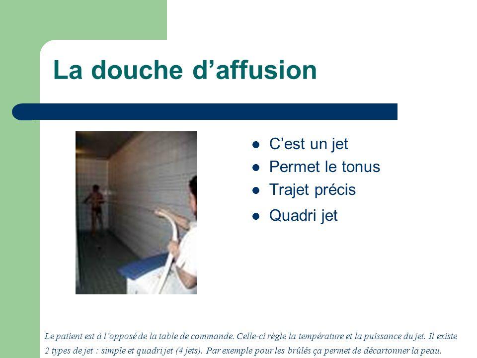 La douche daffusion Cest un jet Permet le tonus Trajet précis Quadri jet Le patient est à lopposé de la table de commande.