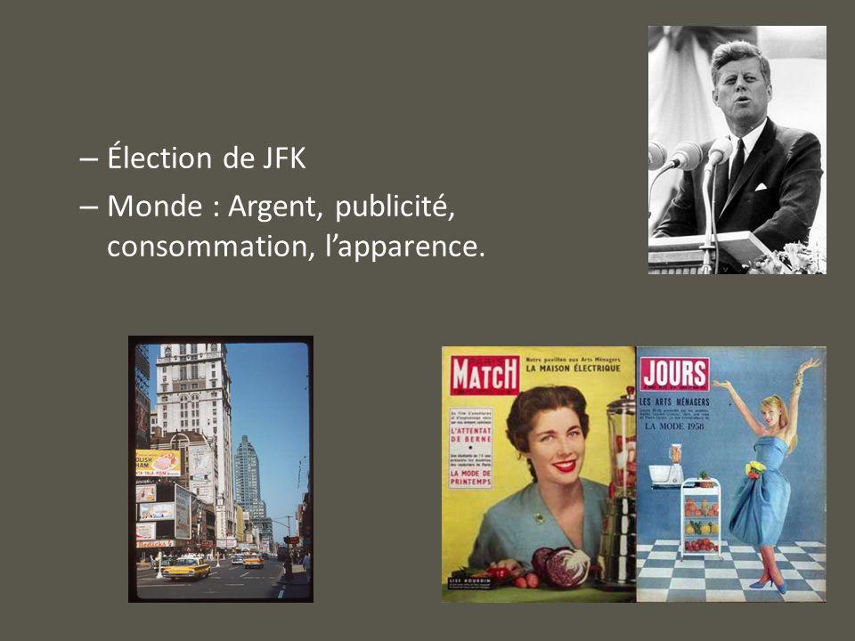 – Élection de JFK – Monde : Argent, publicité, consommation, lapparence.