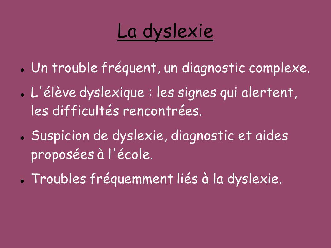 La dyslexie Un trouble fréquent, un diagnostic complexe. L'élève dyslexique : les signes qui alertent, les difficultés rencontrées. Suspicion de dysle