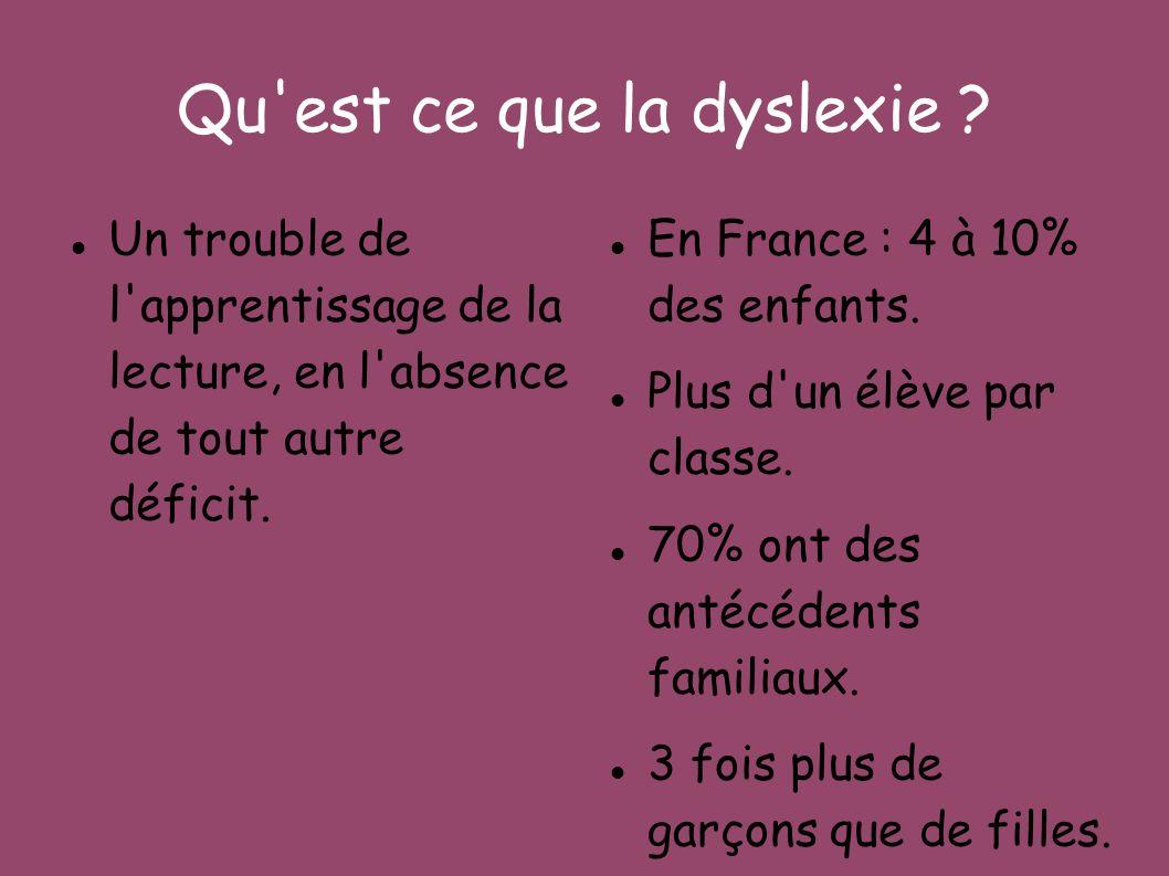 Qu'est ce que la dyslexie ? Un trouble de l'apprentissage de la lecture, en l'absence de tout autre déficit. En France : 4 à 10% des enfants. Plus d'u