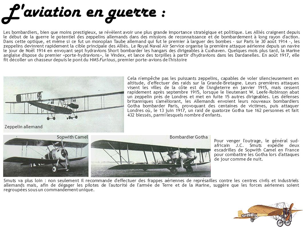 L aviation en guerre : La guerre aérienne allait désormais avoir ses héros et ses légendes : le «Baron rouge» allemand Manfred von Richthofen, les capitaines français René Fonck et George Guynemer, le major Edward «Mick» Mannock et le capitaine Albert Ball britanniques, le major canadien William Bishop et le capitaine américain Eddie Rickenbacker.