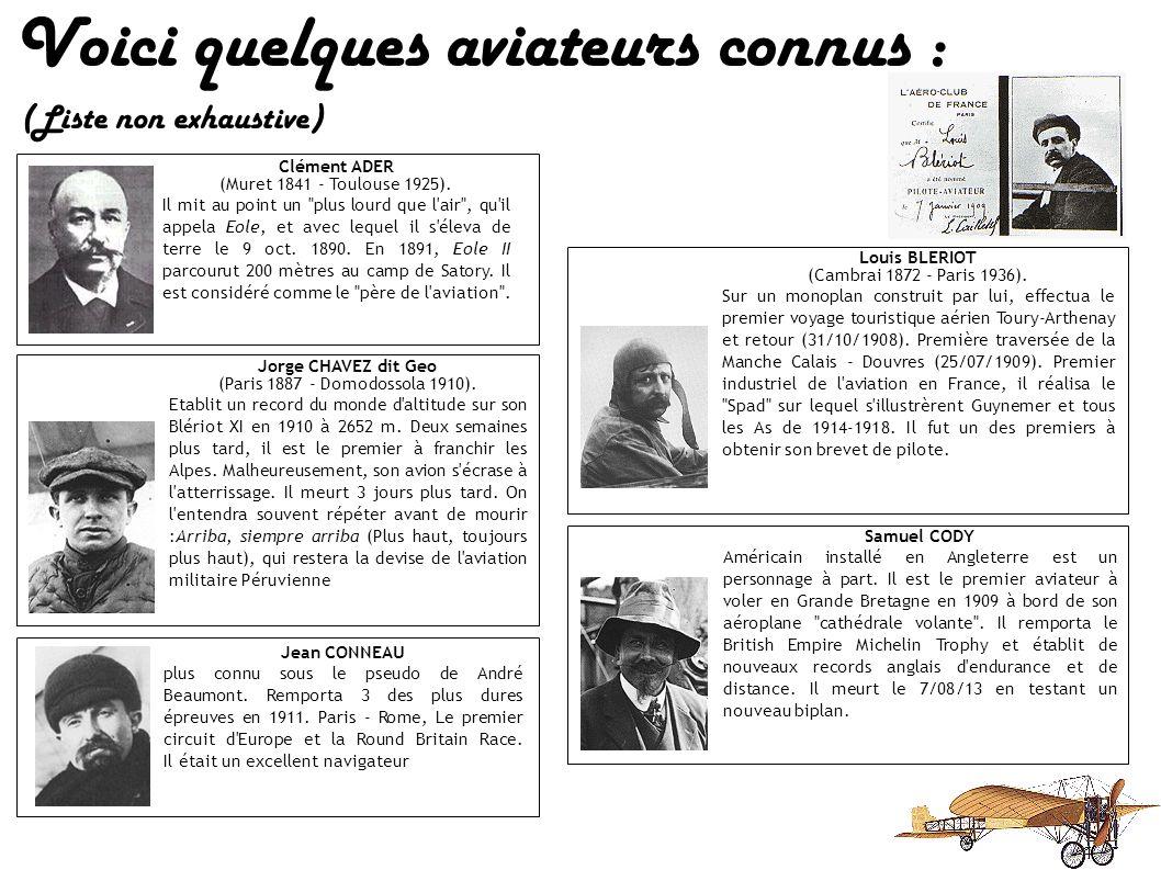 Voici quelques aviateurs connus : (Liste non exhaustive) Clément ADER (Muret 1841 - Toulouse 1925).